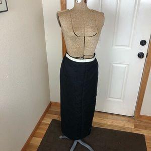 Flax Black Maxi Skirt Linen